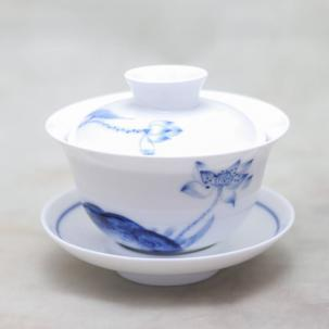 Porcelain Gaiwan #43, hand-painted, 125 ml.